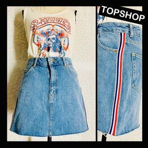 Topshop MOTO cut off side stripe skirt SZ 6 EUC